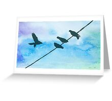 Doves on wire Greeting Card