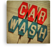 Retro Car Wash Sign Canvas Print