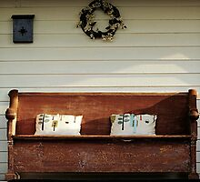 Antique Bench rustic front porch art by jemvistaprint