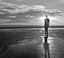 Crosby Beach Iron Man Sunset Black and White by Paul Madden
