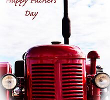 Happy Fathers Day - Red Tractor by Deborah McGrath