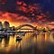 A city skyline at sunrise or sunset