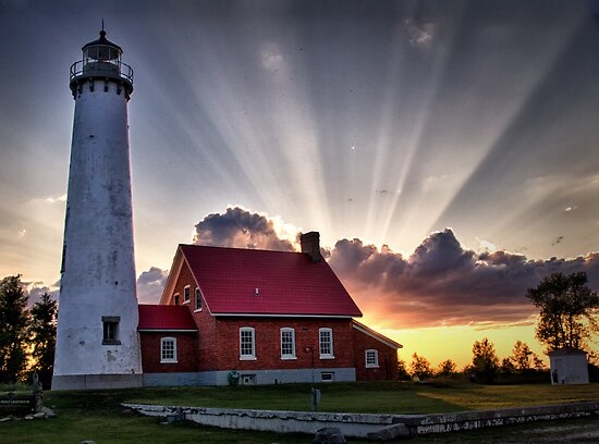 Tawas Point Lighthouse Sunset by Kathy Weaver