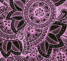Gorgeous Mandala Damask Art in Hot Pink and Black Ink Illustration on Watercolor Paper by rozine