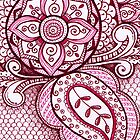 Gorgeous Mandala Damask Art in Hot Pink Ink Illustration on Watercolor Paper by rozine