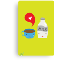 Coffee loves milk Canvas Print
