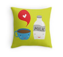 Coffee loves milk Throw Pillow