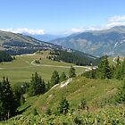 French Alps green landscape and clear blue sky by Grace Johnson