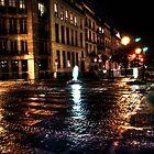 Night View of a Street in Paris, France by Noam  Kostucki