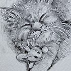 Cat with Soft Toy - 2013 ACEO drawing by Sue Flask