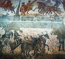 Chariots on course mosaic floors Piazza Armerina  198403260037 by Fred Mitchell