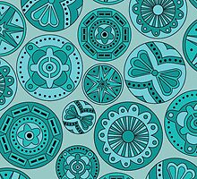 Circular abstract turquoise pattern by CClaesonDesign