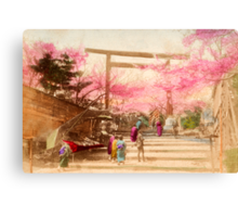 Vintage Japanese Cherry Blossoms Canvas Print