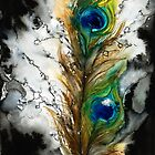 Abstract Watercolor Peacock Feather by printscapes
