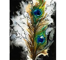 Abstract Watercolor Peacock Feather Photographic Print
