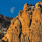 Red Rock Canyon Moon Set by Greg Summers