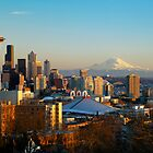 Seattle Cityscape and Mount Rainier by printscapes