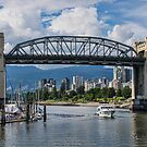 Boat under the Burrard Bridge, Vancouver, BC, Canada by Gerda Grice