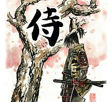 Samurai under Sakura Sumie Style by Mycks