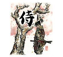 Samurai under Sakura Sumie Style Photographic Print