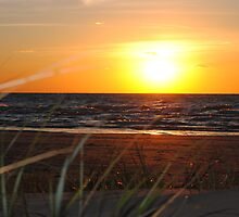 Sunset along Lake Michigan at Silver Beach - 6 by Debbie Mueller