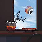 still life with a live balloon by Nikolay Semyonov