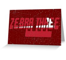 Vintage Seventies Look Zebra Three Call Sign Graphic Greeting Card