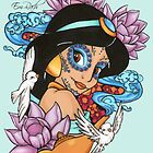 Jasmine Disney Day Of The Dead Style Blue Background by EmRachArt92