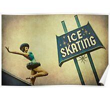 Ice Skating Rink Vintage Signage Poster