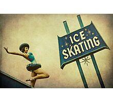 Ice Skating Rink Vintage Signage Photographic Print