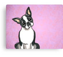Boston Terrier Listen Up Canvas Print