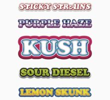 KUSH, PURPLE HAZE, SOUR DIESEL, LEMON HAZE by StickyStrains