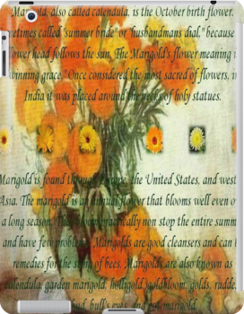 October's Child Birthday Card with Text and Marigolds by taiche