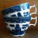 China Blue Tea Cups - Still Life by 082010
