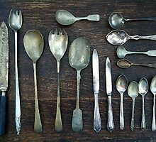 Antique Collection of Spoons, Forks and Knives - Still Life by 082010