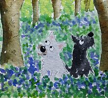 Westie and Scottie  'Bluebell Wood' by archyscottie