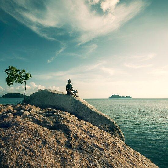 Man Meditating By The Ocean by visualspectrum