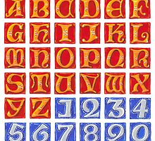 Uncials A to Z with Numbers by Cleave