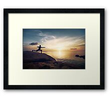 Warrior Yoga by the Ocean Framed Print