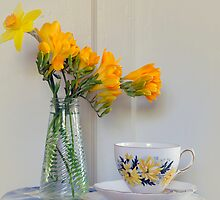 Afternoon tea with Freesias by Clare Colins