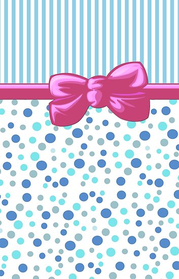 Stripes Dots Spots, Ribbon and Bow, Blue White Pink by sitnica