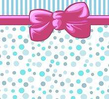 Ribbon, Bow, Dots, Spots, Stripes - Blue White Pink by sitnica