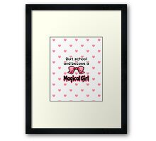 kawaii quit school become a magical girl melty text Framed Print