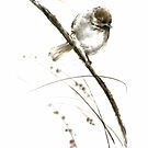 Little bird on branch watercolor original ink painting artwork by Mariusz Szmerdt