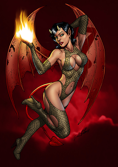 Sexy Devil Girl Holding a Flame For You by Al Rio by alrioart
