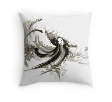 Geisha dancer dancing girl Japanese woman original painting  Throw Pillow