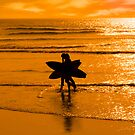 angelic surfing couple silhouette by morrbyte