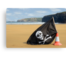 golden beach with jolly roger flag Canvas Print