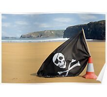 golden beach with jolly roger flag Poster