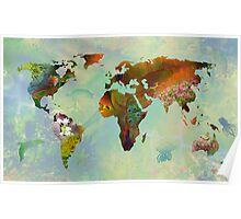 Floral World Map Poster